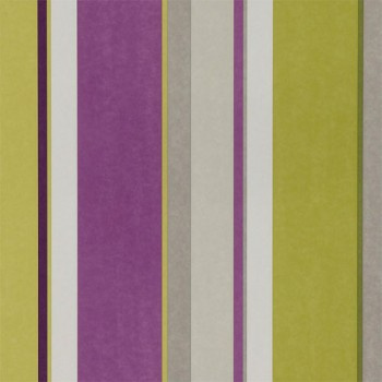 Bella Stripe Wallpaper Damson Lime Cappuccino @Harlequin