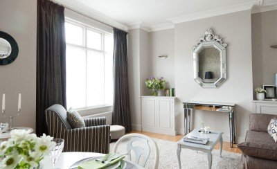 Soft grey backdrop with glamorous furnishings / pattern and texture mix - by Laura Francesca Interiors