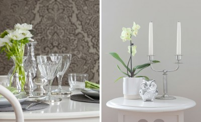 Accent wallpaper behind dining table / side table accessories